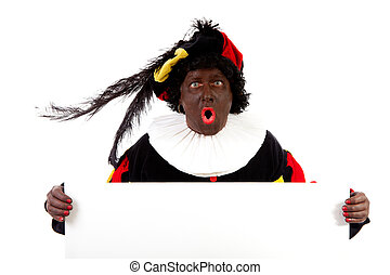 Zwarte piet ( black pete) typical Dutch character part of a...