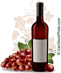 wine bottle and grape - wine bottle with grape and blank...