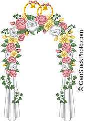Wedding arch, decorated with flowers, vector illustration