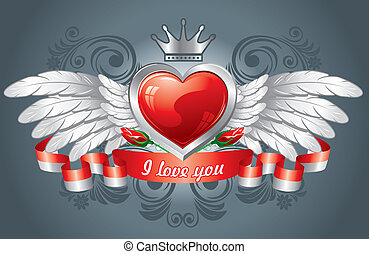heart with wings, wonderful background to Valentines day