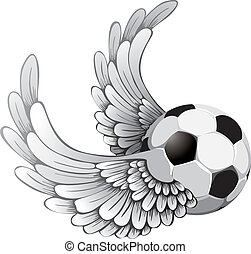 winged soccer ball - Grunge image with winged soccer ball