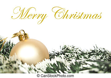Golden christmas ornament and wreath isolated on white