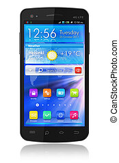 Black glossy touchscreen smartphone with blue interface...