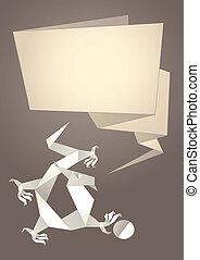 Dragon origami, paper speech bubble