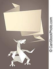 Paper origami speech bubble, dragon