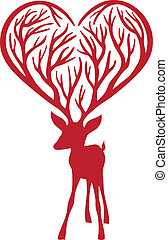 deer with heart antlers, vector - red deer with heart...
