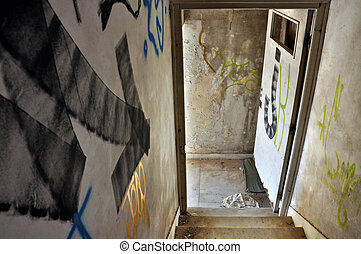 staircase arrow in abandoned house