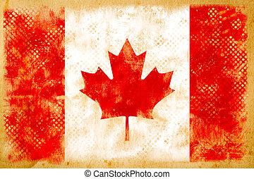 Canada flag grunge  on old vintage paper