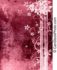 Beautiful purple grungy background with flowers
