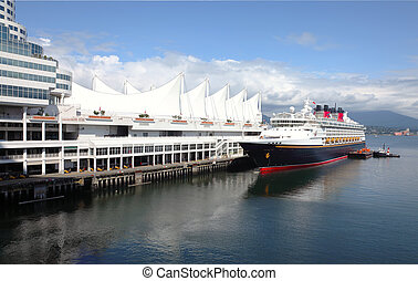Cruise ship, Canada Place Vancouver BC Canada. - Moored...