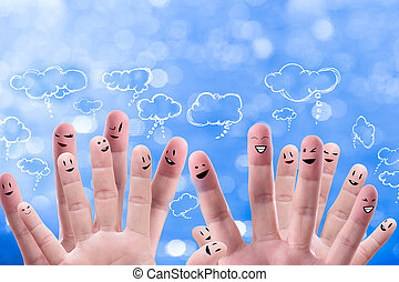 Social network concept of Happy group of finger faces with...