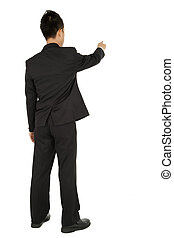 Business man pointing and touch something isolated on white...