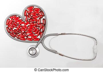 stethoscope with heart shape