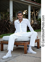 Man in Casual Style Clothing - Full length of middle aged...