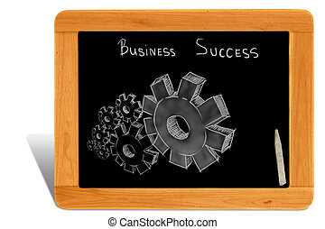Black board Wooden frame  with gear of business success