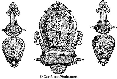 Roman jewellery depicting Gods and allegory vintage...