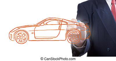 Men drawing a car