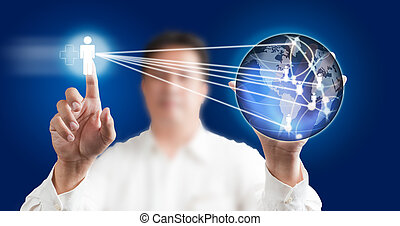 Man pressing modern touch screen with a blue technology...