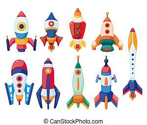dessin animé, vaisseau spatial, icône, ensemble