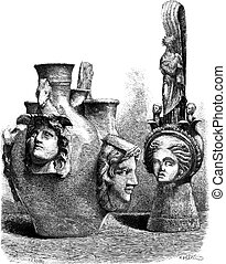 Museum of Louvre. - Vases has reliefs of southern Italy. - Drawing Sellier, vintage engraving.