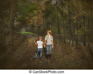 girls walking in autumn woods