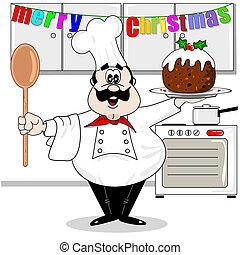 Chef & Christmas pudding