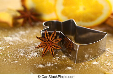 Star anise with angel shaped cookie cutter
