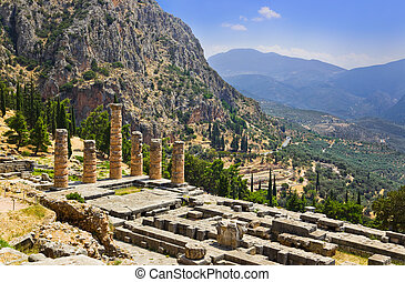 Ruins of Apollo temple in Delphi, Greece - archaeology...
