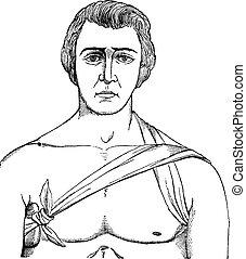 Bandage tie the axillary fold, vintage engraving - bandage...