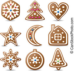 gingerbread cookies - vector set of nine gingerbread cookies