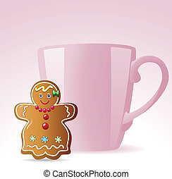 gingerbread cookie and a cup - vector gingerbread cookie and...