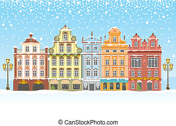 Christmas in a snowy city - Christmas vintage card with the...
