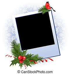 Christmas photo frame with holly berry - Three Christmas...