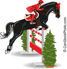 Jumping horse and jockey - Show Jumping Jockey on a...