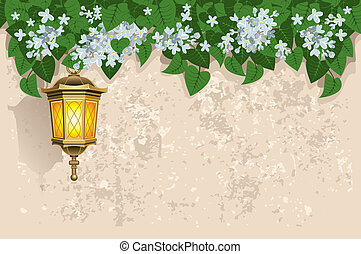White lilacs and street lantern