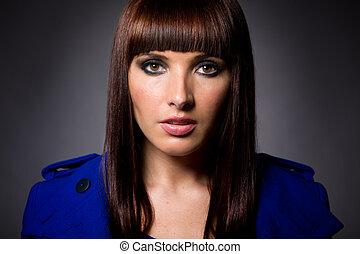 Model Portrait of Brunette Caucasian Female - Headshot of an...
