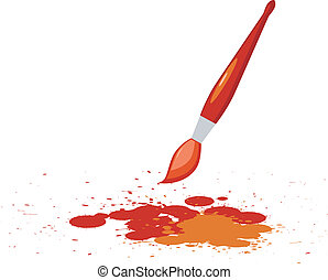 Vector illustration of red spots  with a brush of red paint
