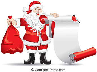 Santa Claus with a roll of paper