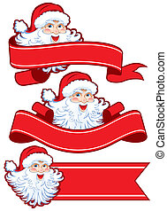 Christmas ribbon with santa claus Place your text