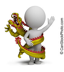 3d small people - dragon twists around - dragon twists...