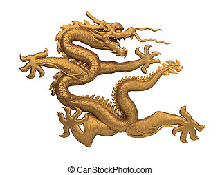 bronze dragon - coiled bronze dragon. 3d image. Isolated...
