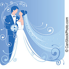 Wedding - Bride and groom Gentle wedding background Vector...