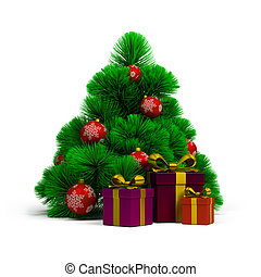Christmas tree, balls and gifts. 3d image. Isolated white...