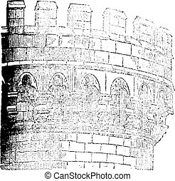 Machicolation Castle Mehun, vintage engraving.