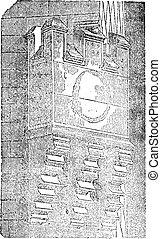 Machicolations of the Hotel de Sens, vintage engraving. -...