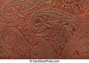 Tooled floral pattern in leather - Tooled floral pattern in...