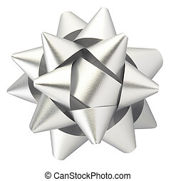 Silver gift bow - Silver bow isolated on white clipping path...