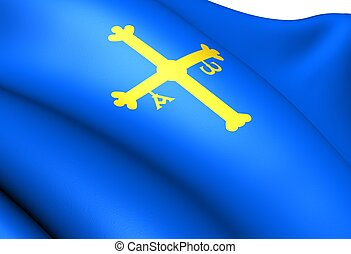Principality of Asturias flag, Spain Close up