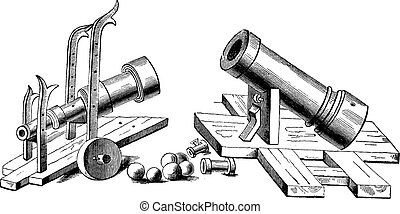 Bombard weapon vintage engraving - Old engraved illustration...