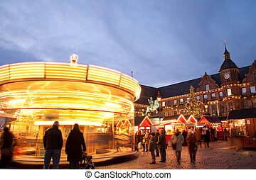 Marketplace in Altstadt - Carousel at Christmas market on...